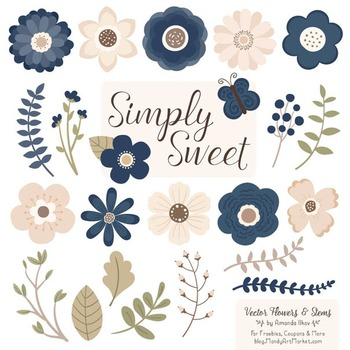 Simply Sweet Vector Flowers & Stems Clipart in Navy