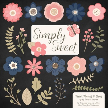 Simply Sweet Vector Flowers & Stems Clipart in Navy & Blush