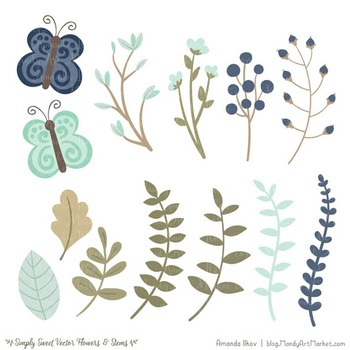 Simply Sweet Vector Flowers & Stems Clipart in Navy & Mint