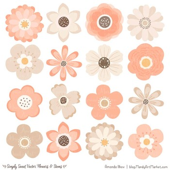 Simply Sweet Vector Flowers & Stems Clipart in Peach