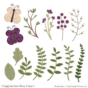 Simply Sweet Vector Flowers & Stems Clipart in Plum