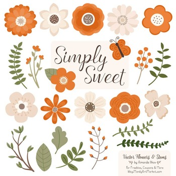 Simply Sweet Vector Flowers & Stems Clipart in Pumpkin
