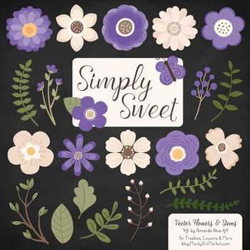 Simply Sweet Vector Flowers & Stems Clipart in Purple