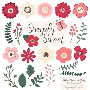 Simply Sweet Vector Flowers & Stems Clipart in Rose Garden
