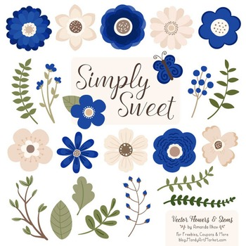 Simply Sweet Vector Flowers & Stems Clipart in Royal Blue
