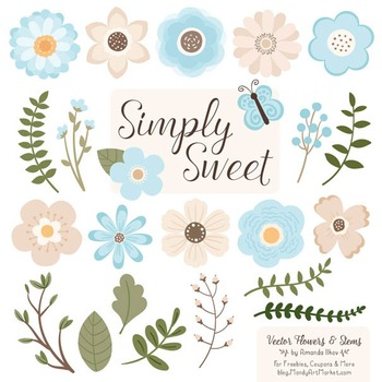 Simply Sweet Vector Flowers & Stems Clipart in Soft Blue
