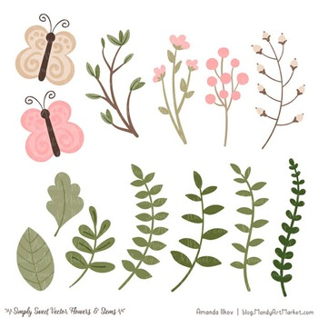 Simply Sweet Vector Flowers & Stems Clipart in Soft Pink