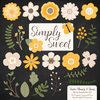 Simply Sweet Vector Flowers & Stems Clipart in Sunshine