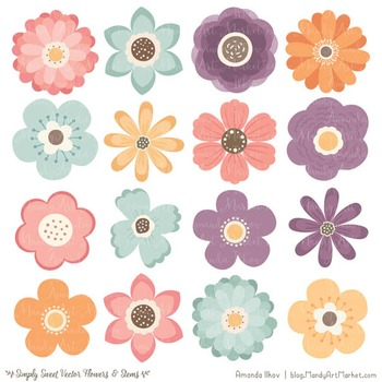 Simply Sweet Vector Flowers & Stems Clipart in Vintage