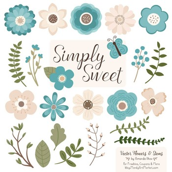 Simply Sweet Vector Flowers & Stems Clipart in Vintage Blue