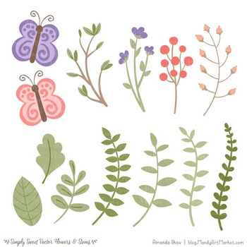 Simply Sweet Vector Flowers & Stems Clipart in Wildflowers