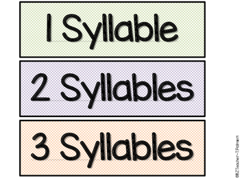 Simply Syllables - Sort 1, 2, and 3 syllable words with pictures