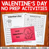 Valentines Day Kindergarten No Prep Printables