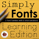 Simply Fonts: Learning Edition -- Early Writers Traceable Handwriting Font