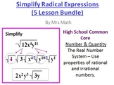 Simplying Radical Expressions Powerpoints 5-Lesson Pack