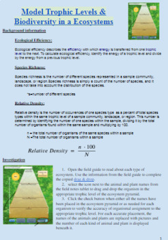 Simpson Biodiversity Index Species Richness Ecosystems Interactive Virtual Lab