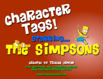 """Free Simpsons Character """"Tags"""" Creative Novel/Lit Activity"""