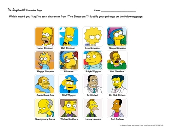 "Free Simpsons Character ""Tags"" Creative Novel/Lit Activity"