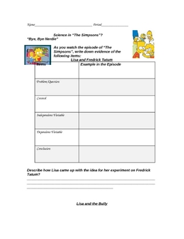 """Simpsons"" Science Experiment Variables Examples Worksheet"