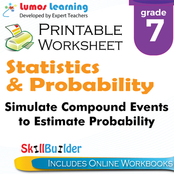 Simulate Compound Events to Estimate Probability Printable Worksheet, Grade 7