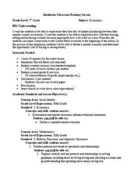 Simulation Classroom Economy Lesson Plan