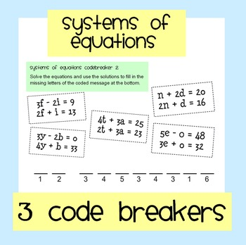 Systems of Equations Code Breakers