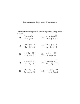 Simultaneous Equations – Elimination