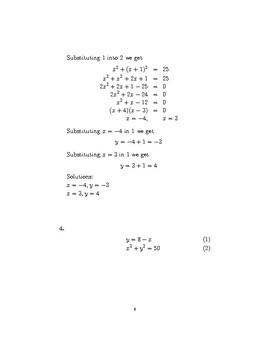 Simultaneous Equations – One Linear, One Quadratic