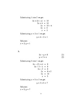 Simultaneous Equations – Substitution
