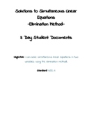 Simultaneous Linear Equations Elimination Method 3 Day Student Documents 8.EE.8