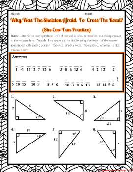 Right Triangles - Trigonometry - Sin Cos Tan Halloween Riddle Worksheet
