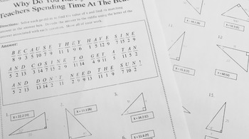 Right Triangles - Sin Cos Tan Introduction to Trig Notes Practice Riddle Bundle