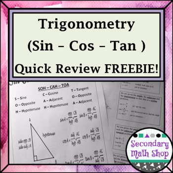 Right Triangles - Sin Cos Tan Quick Review Freebie!
