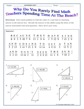 Triangles - Sin Cos Tan (Soh Cah Toa) Trig. Riddle Practice Worksheet