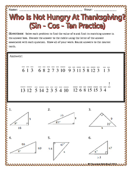 Right Triangles - Sin Cos Tan Thanksgiving Riddle Worksheet