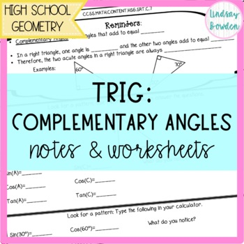 Sin Cos Tan Of Complementary Angles Notes And Worksheet Tpt
