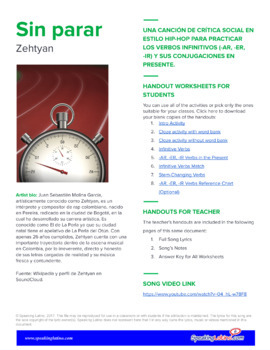 Sin parar by Zehtyan: Spanish Song to Practice Infinitive Verbs (-AR, -ER, -IR)