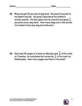 Singapore Grade 5 Chapter 4 Test Review (2015 Common Core Version)