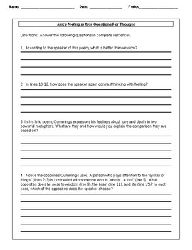 Since Feeling is First Poem Worksheet