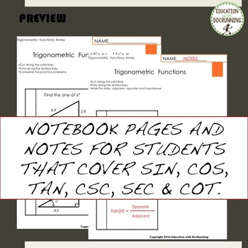 Trigonometric Functions Notes Practice and Card Sort Activity for Trigonometry