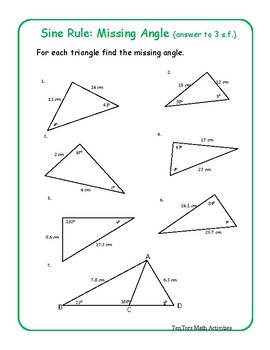 Find Missing Side Activity Trigonometry Teaching Resources