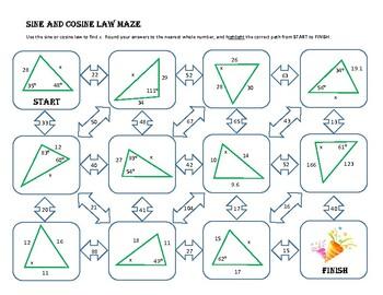 Sine and Cosine Law Maze Worksheet