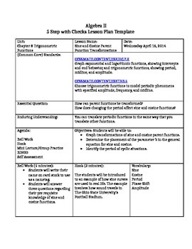 Sine and Cosine Transformation Scripted Lesson Plan