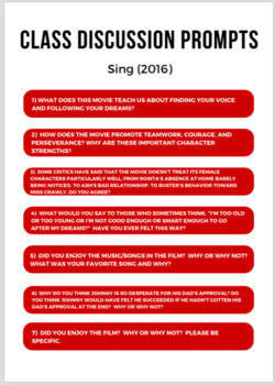 Sing (2016) Movie Packet and Guide + Activities + Sub Plan