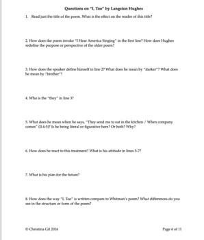 """I Hear America Singing,"" Whitman & ""I Too Sing America,"" Hughes | Questions"