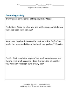 Sing Down the Moon Complete Literature and Grammar Unit
