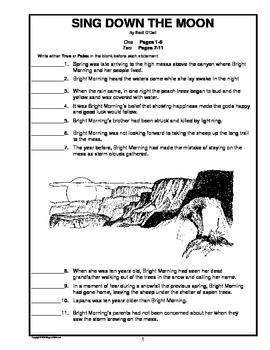 Sing Down the Moon Chapter-by-Chapter Objective Tests Teaching Guide