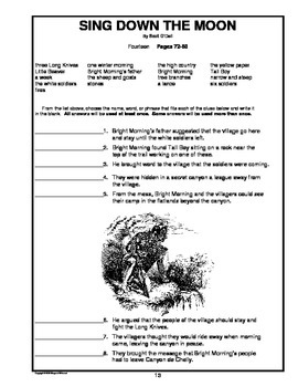 sing down the moon chapter by chapter objective tests teaching guide rh teacherspayteachers com Sing Down the Moon Novel Drawings From the Book Sing Down the Moon
