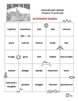Sing Down the Moon Vocabulary Bingo