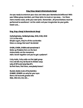 Sing, Sing a Song! A Biomolecule Song!